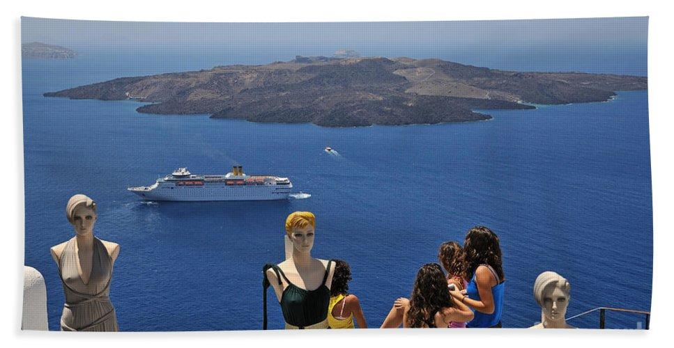 Santorini Bath Sheet featuring the photograph Watching The View In Santorini Island by George Atsametakis