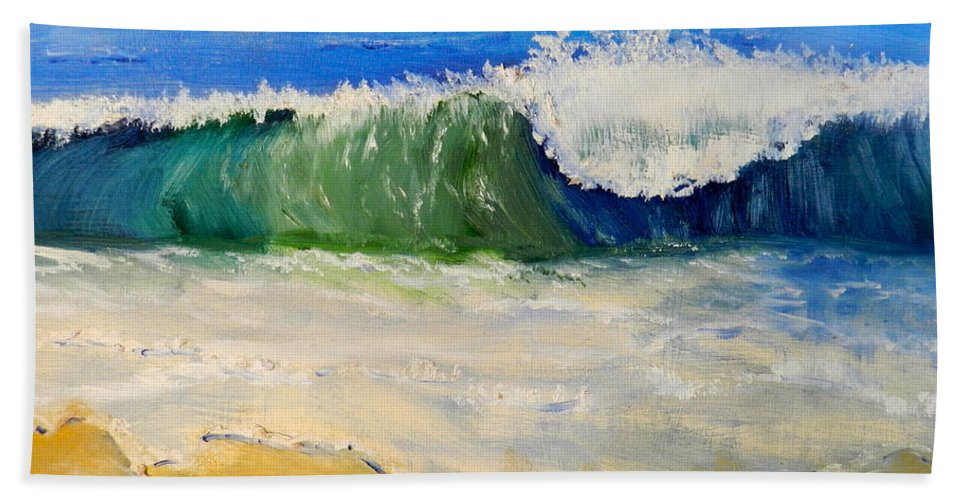 Impressionism Hand Towel featuring the painting Watching The Wave As Come On The Beach by Pamela Meredith