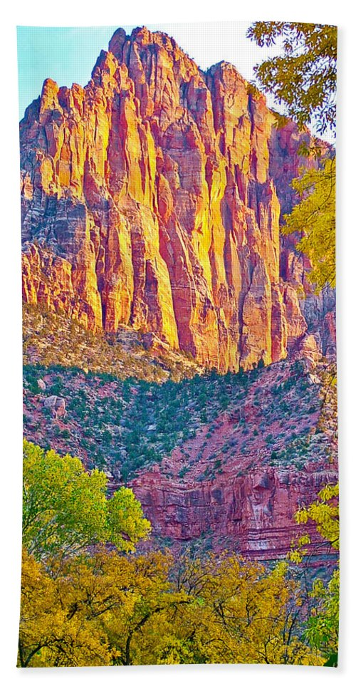 Watchman's Peak In Zion National Park Bath Sheet featuring the photograph Watchman's Peak In Zion National Park-utah by Ruth Hager
