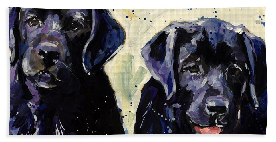 Labrador Retriever Puppies Hand Towel featuring the painting Water Boys by Molly Poole