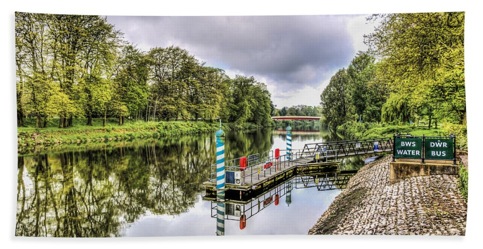 Water Bus Stop Hand Towel featuring the photograph Water Bus Stop Bute Park Cardiff by Steve Purnell