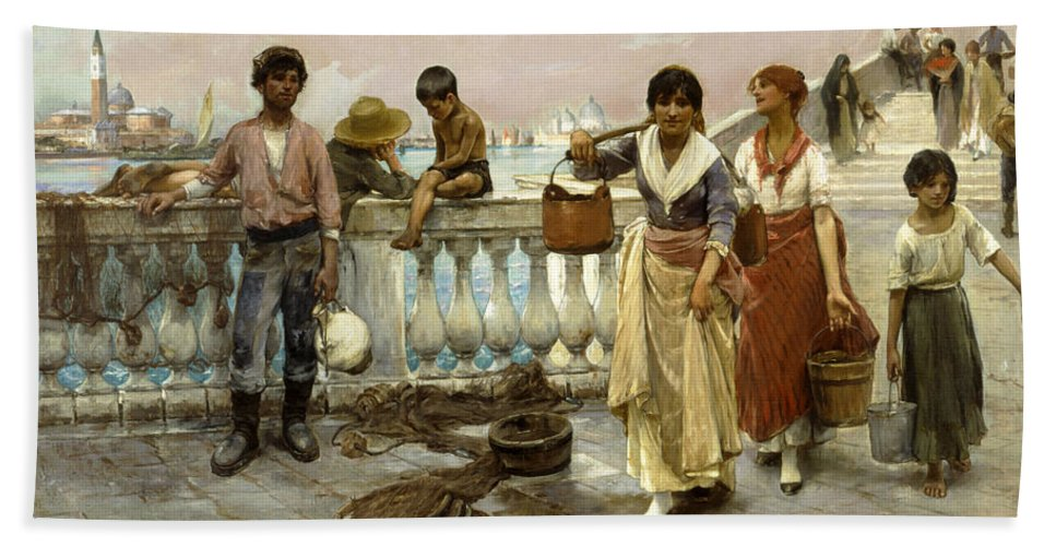 Frank Duveneck Bath Sheet featuring the painting Water Carriers. Venice by Frank Duveneck