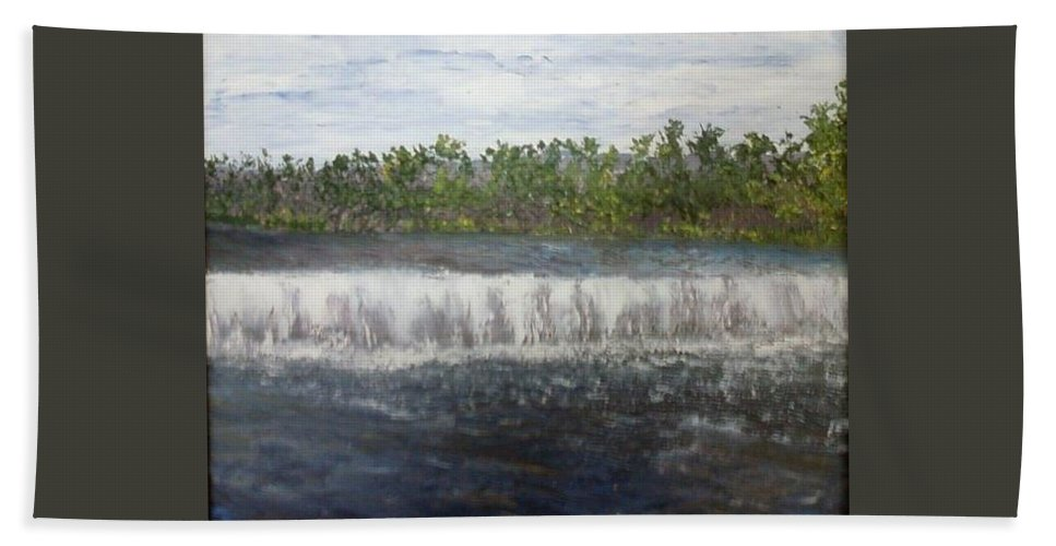 Water Falls Bath Towel featuring the painting Water Falls over the Dam by Sheila Mashaw