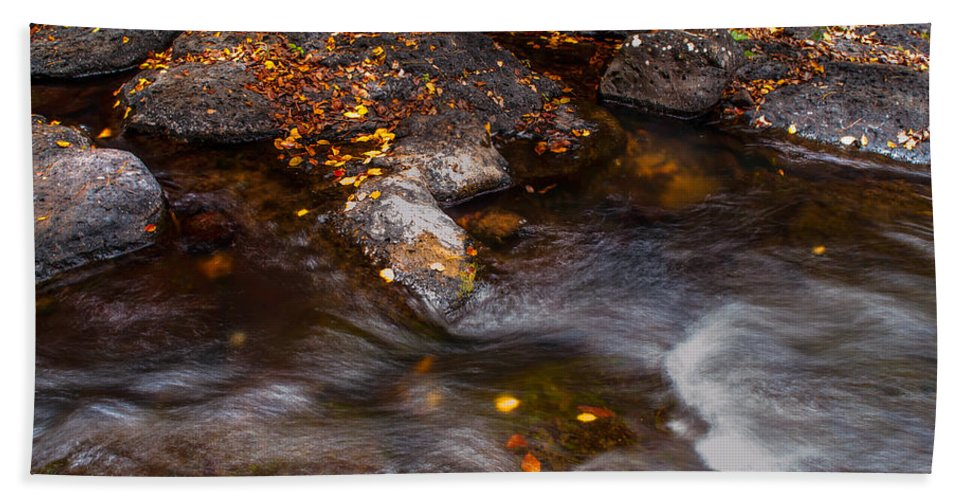 Water Hand Towel featuring the photograph Water Flow Through The Boulders. Eureka. Mauritius by Jenny Rainbow