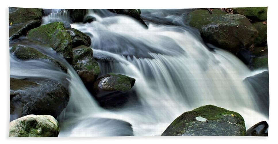 Great Smoky Mountains Bath Sheet featuring the photograph Water Flowsthrough The Mountains by Carol Montoya