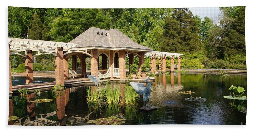Botanical Garden Hand Towel featuring the photograph Water Garden Serenity by Megan Cohen