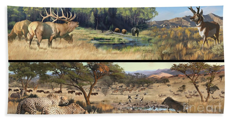 Leopard Bath Sheet featuring the painting Water Hole Safari by Rob Corsetti