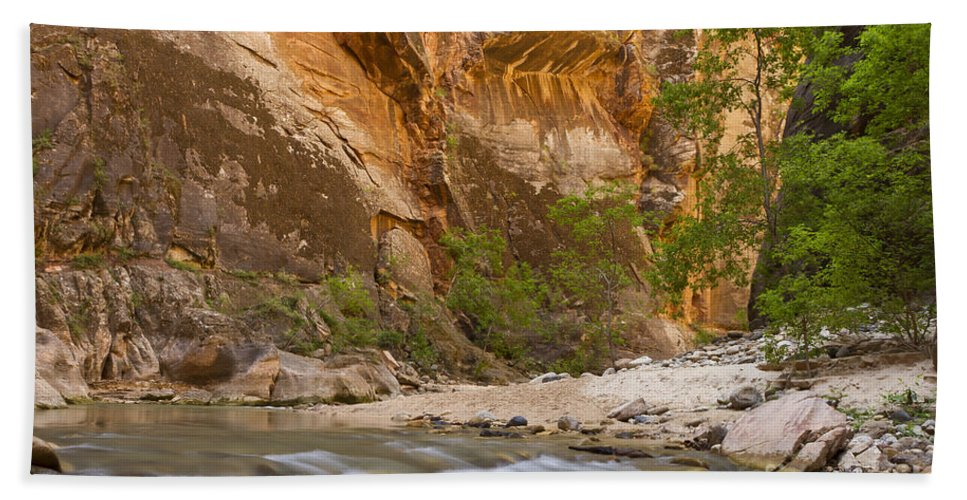Zion Hand Towel featuring the photograph Water In The Narrows by Bryan Keil