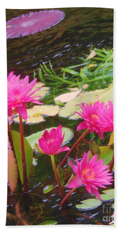 Water Lilies Hand Towel featuring the photograph Water Lilies 009 by Robert ONeil