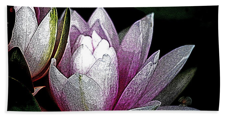 Water Lily Bath Sheet featuring the digital art Water Lilies I by Kathy Sampson