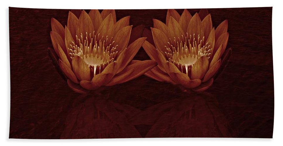 Water Lily Bath Towel featuring the photograph Water Lilies In Deep Sepia by David Dehner