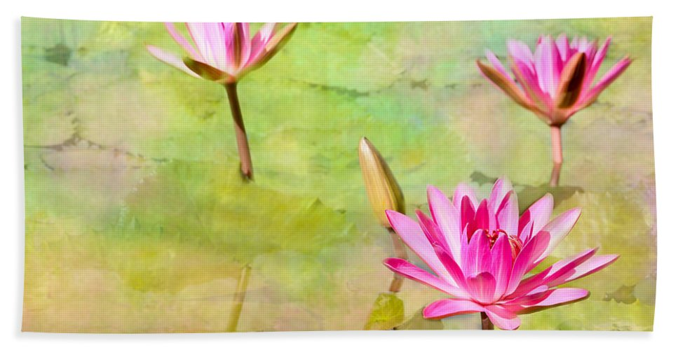 Landscape Bath Sheet featuring the photograph Water Lilies Inspired By Monet by Sabrina L Ryan