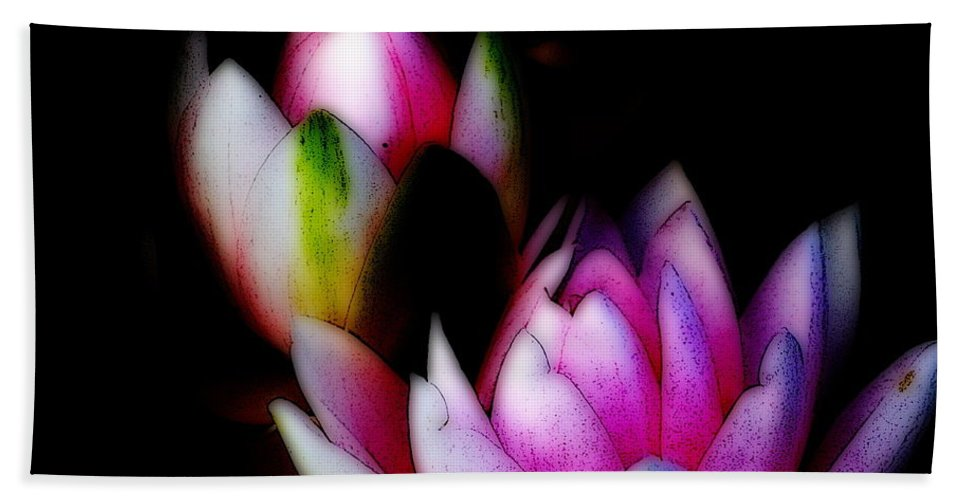 Water Lily Bath Sheet featuring the digital art Water Lilies Ll by Kathy Sampson