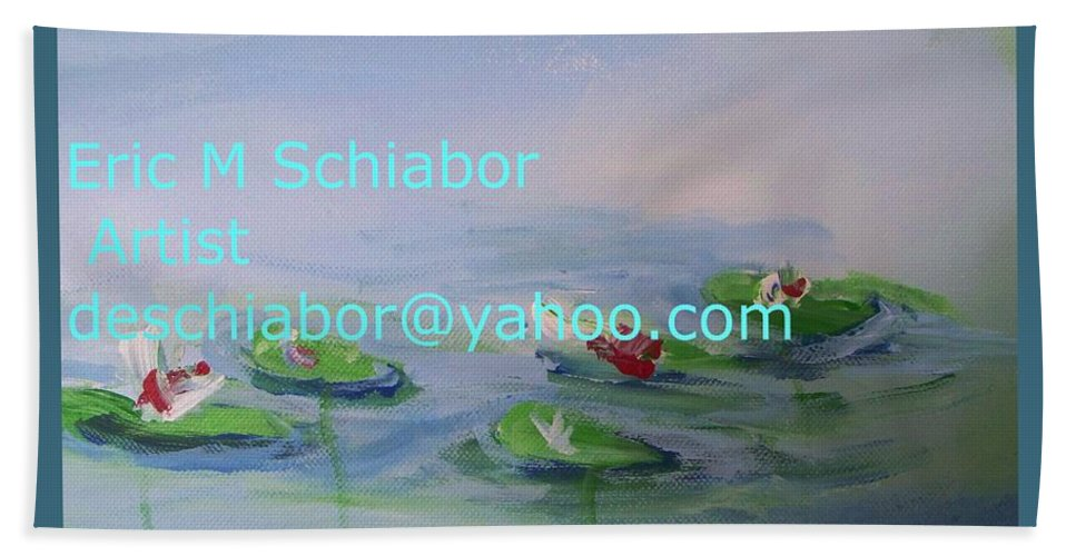 Water Lilies Bath Sheet featuring the painting Water Lilies Print by Eric Schiabor