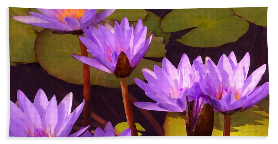 Water Lilies Bath Sheet featuring the painting Water Lily Pond by Amy Vangsgard