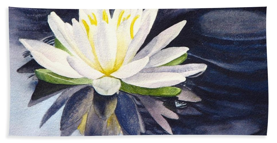 Water Lily Hand Towel featuring the painting Water Lily by Sharon Farber