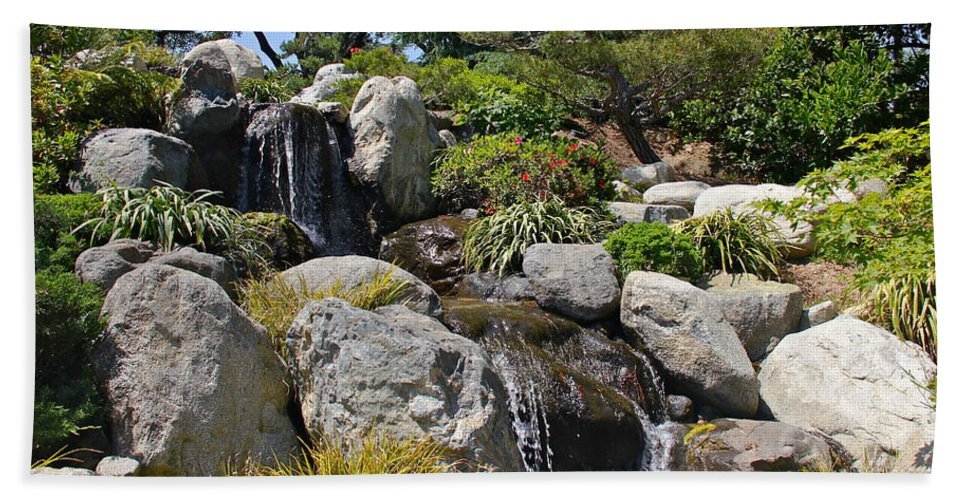 Waterfall Hand Towel featuring the photograph Water On The Rocks by Denise Mazzocco
