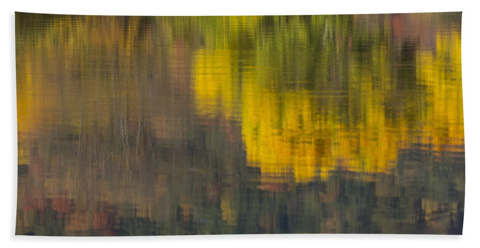 Fall Bath Sheet featuring the photograph Water Reflections Abstract Autumn 2 B by John Brueske