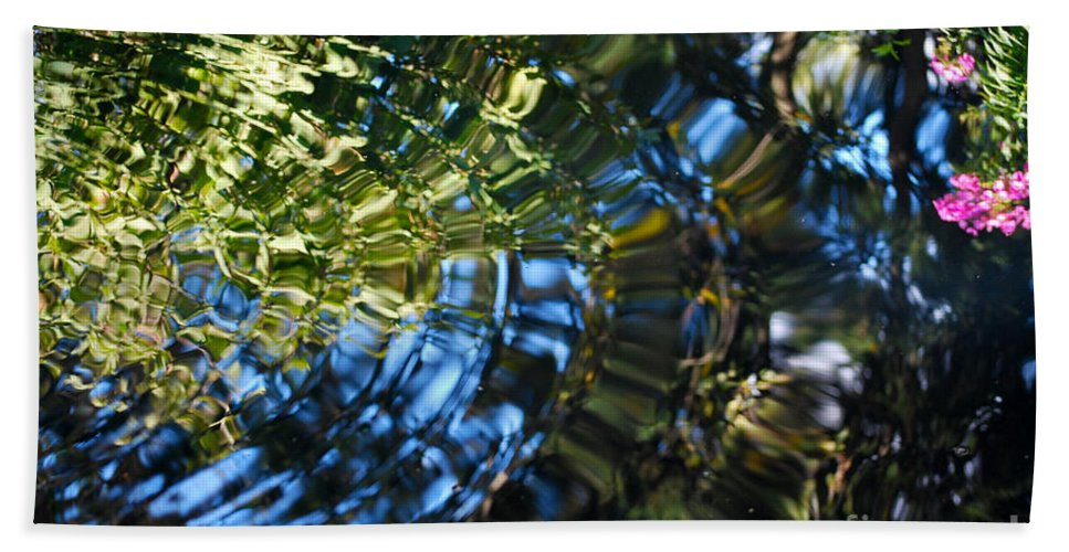 Pond Bath Sheet featuring the photograph Water Reflections 4 by Nancy Mueller
