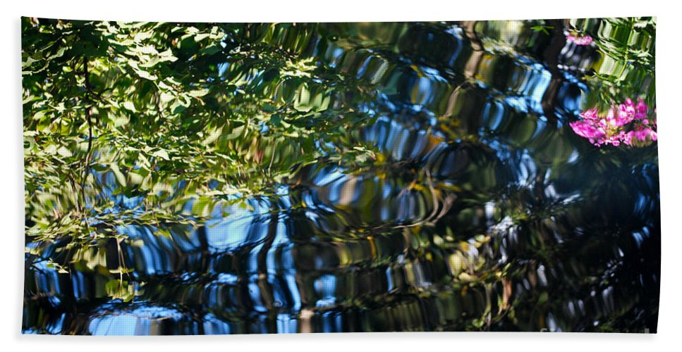 Pond Bath Sheet featuring the photograph Water Reflections 7 by Nancy Mueller