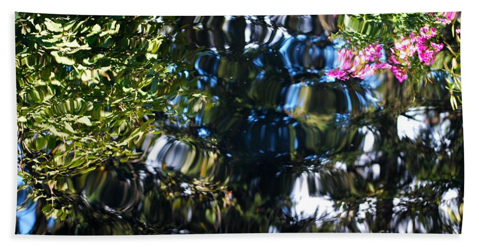 Pond Bath Sheet featuring the photograph Water Reflections 8 by Nancy Mueller