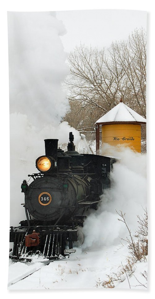 Colorado Railroad Museum Bath Towel featuring the photograph Water Tower Behind The Steam by Ken Smith