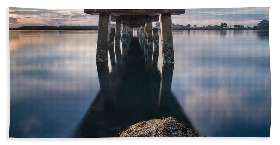 Humboldt Bay Hand Towel featuring the photograph Water Under The Pier by Greg Nyquist