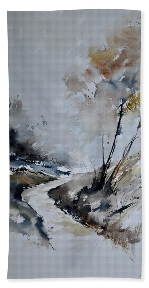 Landscape Hand Towel featuring the painting Watercolor 212152 by Pol Ledent