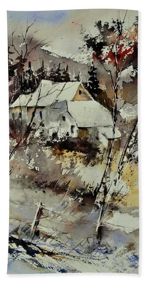 Landscape Bath Sheet featuring the painting Watercolor 314001 by Pol Ledent