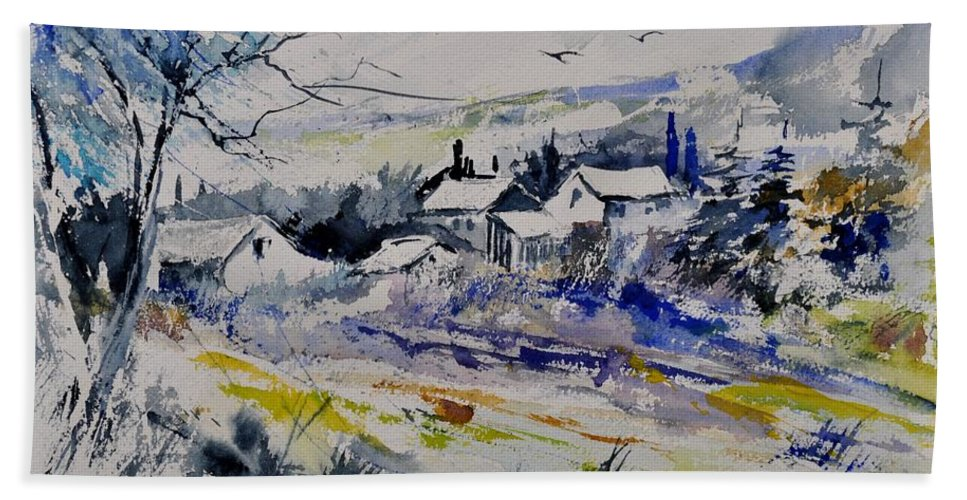 Landscape Hand Towel featuring the painting Watercolor 413010 by Pol Ledent