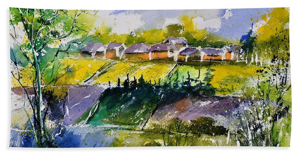Landscape Hand Towel featuring the painting Watercolor 414022 by Pol Ledent