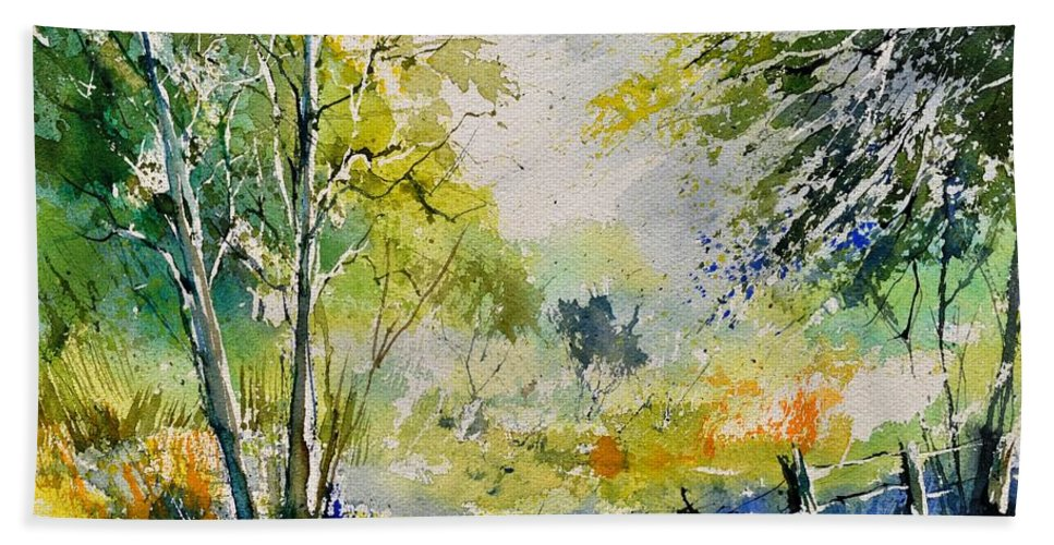 Landscape Bath Sheet featuring the painting Watercolor 414061 by Pol Ledent