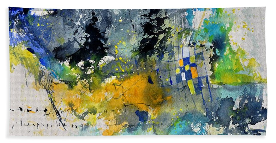 Abstract Hand Towel featuring the painting Watercolor 414062 by Pol Ledent