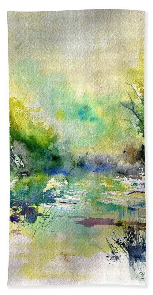 Lanscape Bath Sheet featuring the painting Watercolor 45319041 by Pol Ledent