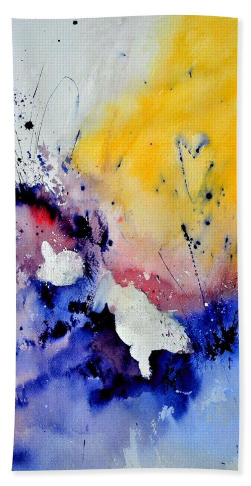 Abstract Hand Towel featuring the painting Watercolor 4541902 by Pol Ledent