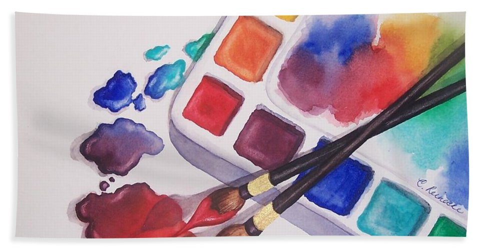 Watercolor Hand Towel featuring the painting Watercolor Drops by Conni Reinecke