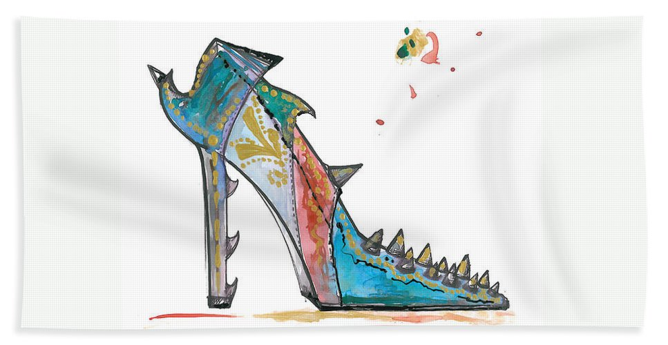 Spiked Shoes Hand Towel featuring the painting Watercolor Fashion Illustration Art by Marian Voicu