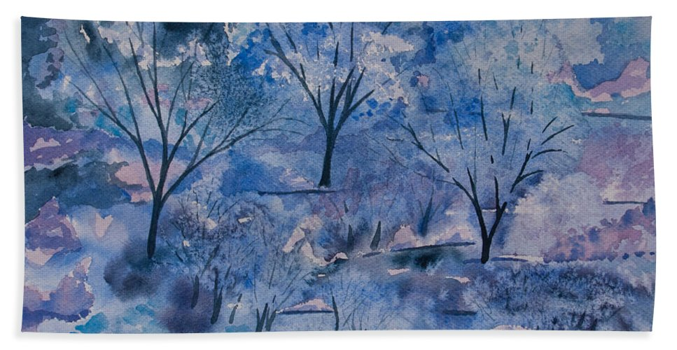 Icy Bath Sheet featuring the painting Watercolor - Icy Winter Landscape by Cascade Colors