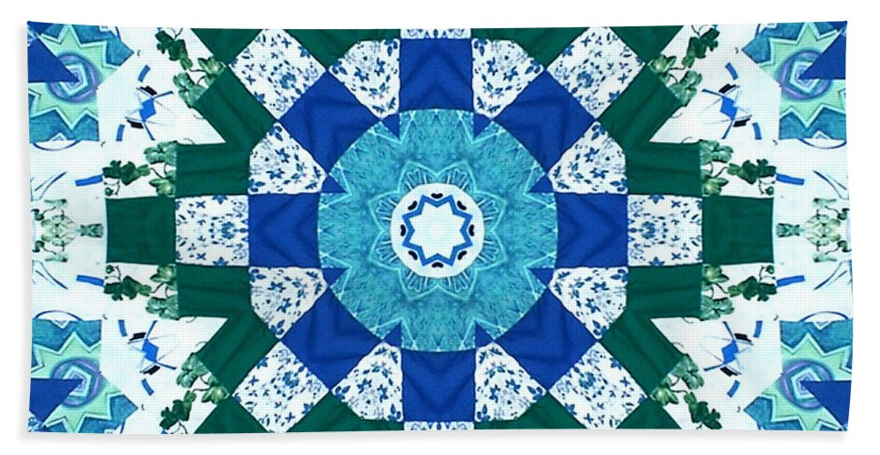 Quilts Hand Towel featuring the tapestry - textile Watercolor Quilt by Barbara Griffin