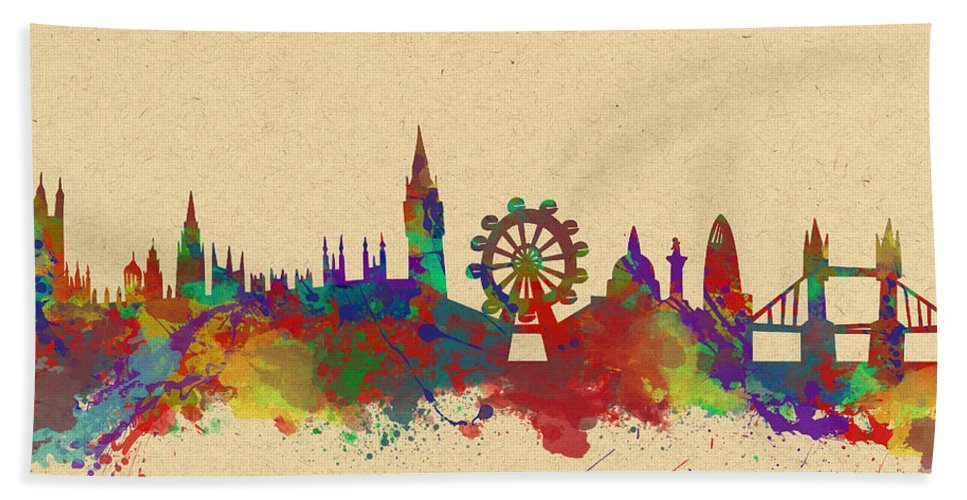 London Bath Sheet featuring the photograph Watercolor Skyline Of London by Chris Smith