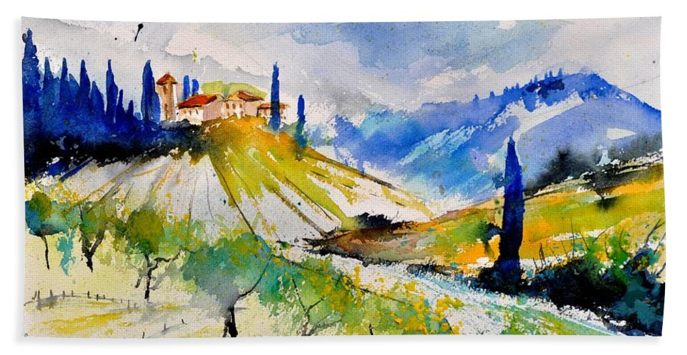 Landscape Hand Towel featuring the painting Watercolor Toscana 317040 by Pol Ledent