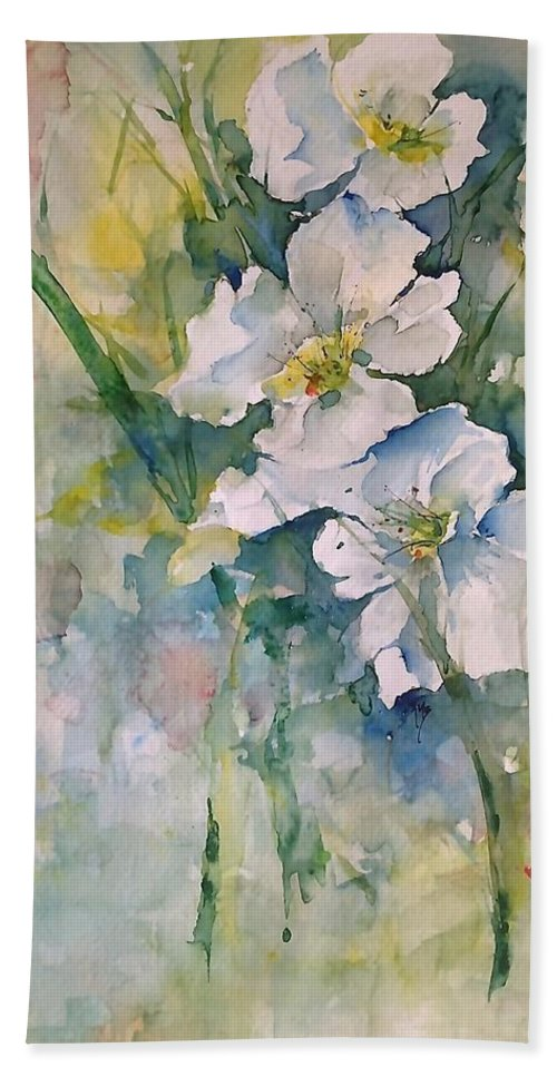 White Hand Towel featuring the painting Watercolor Wild Flowers by Robin Miller-Bookhout