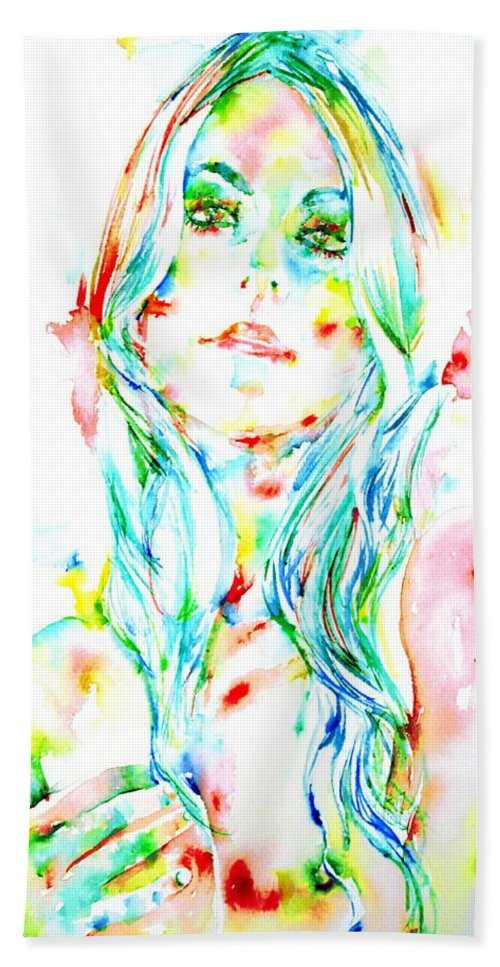 Woman Bath Sheet featuring the painting Watercolor Woman.1 by Fabrizio Cassetta