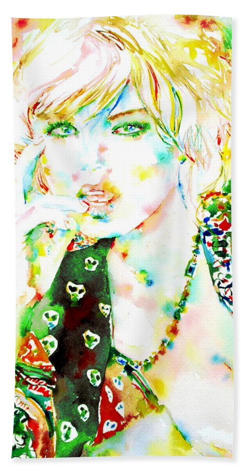 Woman Bath Sheet featuring the painting Watercolor Woman.3 by Fabrizio Cassetta