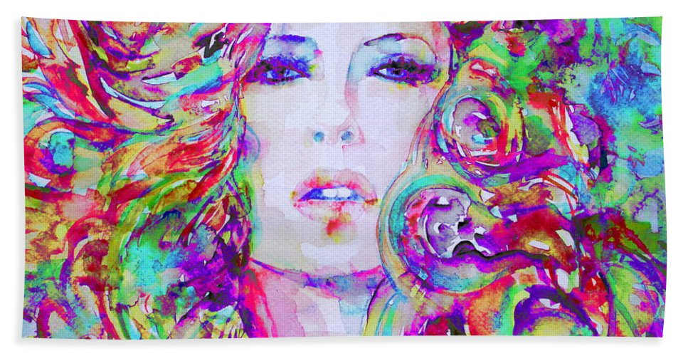 Girl Bath Sheet featuring the painting Watercolor Woman.32 by Fabrizio Cassetta
