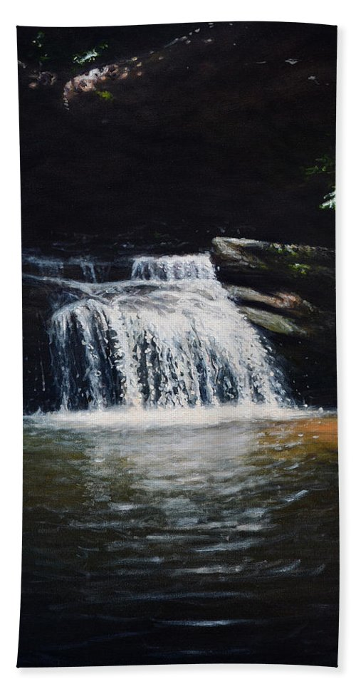 Landscape Hand Towel featuring the painting Waterfall At Table Rock National Forest by Erik Schutzman