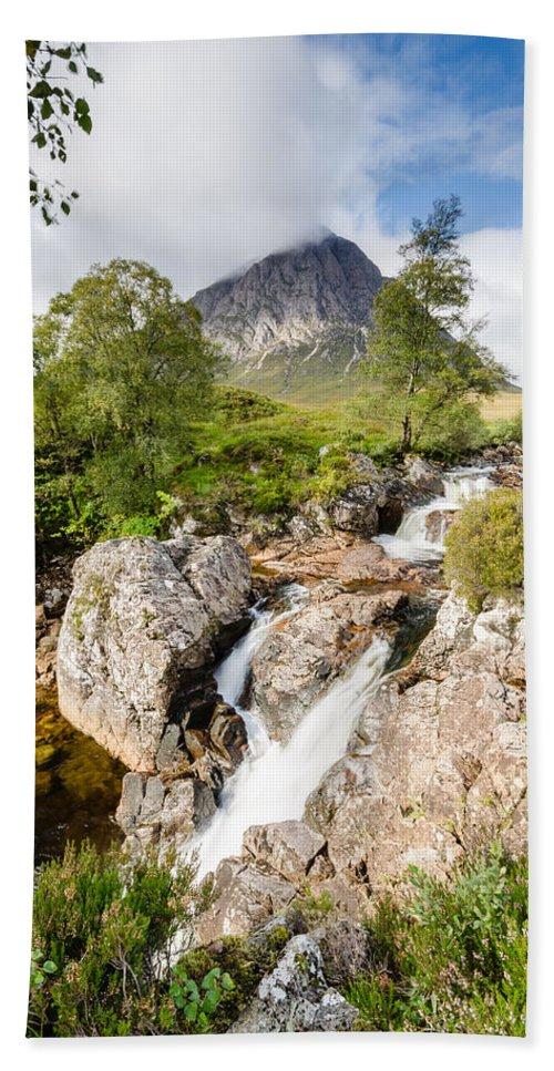 Buachaille Etive Mor Bath Sheet featuring the photograph Waterfall Below Stob Dearg by David Head