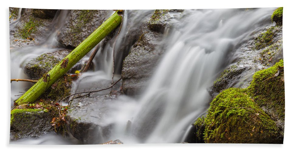Dublin Hand Towel featuring the photograph Waterfall Close Up In Marlay Park by Semmick Photo