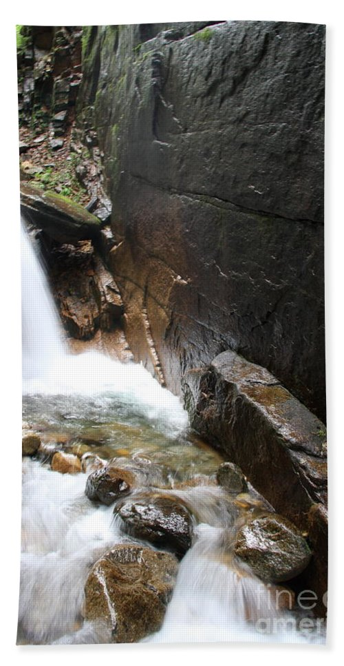 Waterfall Hand Towel featuring the photograph Waterfall Flume Gorge - Nh by Christiane Schulze Art And Photography