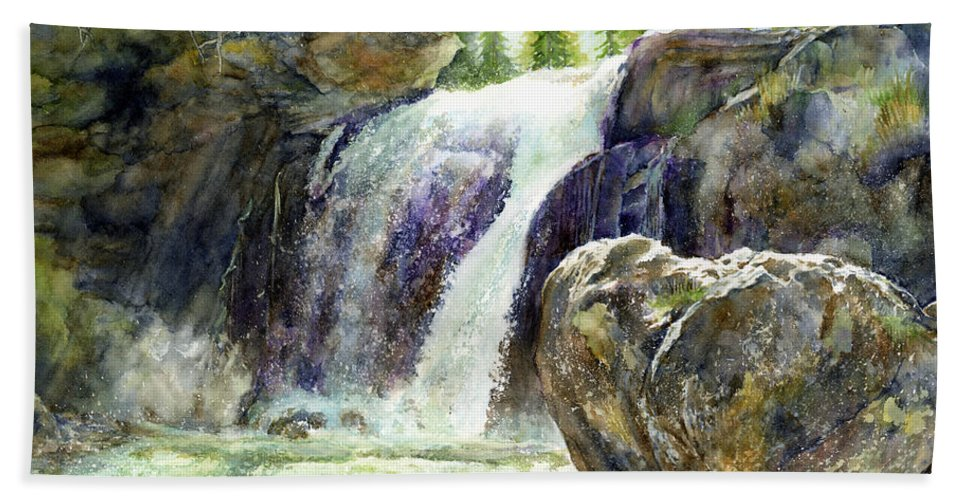 Watercolor Hand Towel featuring the painting Waterfall by Hailey E Herrera